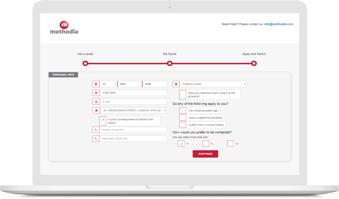 online switching form for utility services
